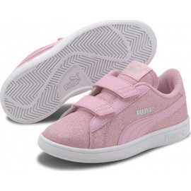 Puma Παιδικό Παπούτσι Μόδας Fw20 Smash V2 Glitz Glam V Ps 367378-19 Pink Glitter