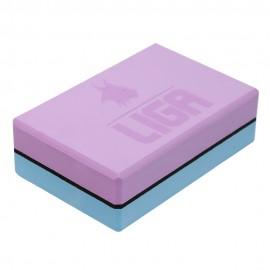 Τουβλάκι Yoga δίχρωμο (Two-color Yoga block) (γαλάζιο/μωβ) LIGASPORT*