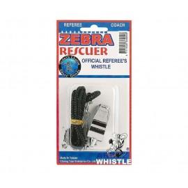 Σφυρίχτρα απλή μεταλλική με κορδόνι zebra Rescuer amila (41991)
